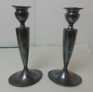 Antique Pairpoint Silver Plated Candlesticks 8 Quadruple Plate 6136 Mass