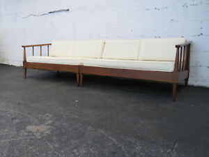 Mid Century Modern Two Part Sectional Long Sofa Couch 9235
