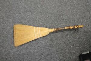 Hand Carved Hearth Whisk Broom Twist Primitives Americana Wood Handle Stick Vtg