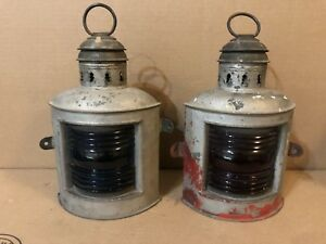 Vintage Antique Maritime Nautical Starboard Port Corner Lights Lanterns