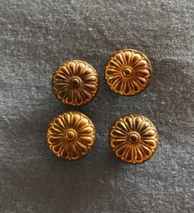 Vintage Set Of 4 Victorian Metal Shank Buttons W Embossed Flower Design 5 8