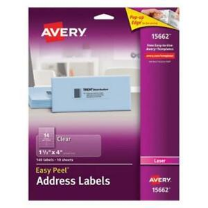 Avery Mailing Labels Fit Laser Printers 1 1 2 X 4 Clear 140 Labels ave15662