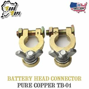 Pair Car Auto Marine Battery Terminal Connector Pure Copper Wing Nut Clamp Clip