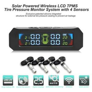 Wireless Solar Tpms Color Lcd Car Tire Pressure Monitor System 4 Internal Sensor