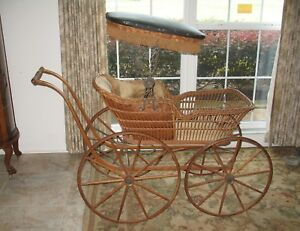 D 62 Antique 1888 Wicker Baby Carriage Buggy