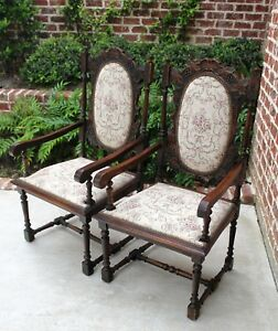 Antique French Oak Pair Victorian Upholstered Arm Chairs Carved Grapevine Leaves