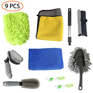 Car Cleanning Washing Tools Kit Tire Brush car Wash Glove Cleaning Tool 9 Packs