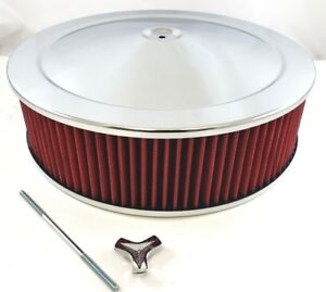 14 X 4 Chrome Steel Performance Air Cleaner Kit W Washable Red Filter 14x4