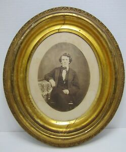 Antique 1800s Wooden Decorative Arts Oval Frame Gentleman Posing Photograph