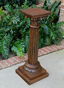 Antique French Oak Pedestal Bronze Display Table Fluted Column Plant Stand 1