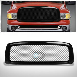 Fits 02 05 Dodge Ram Glossy Black Mesh Front Hood Bumper Grill Grille Guard Abs