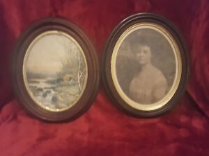 2 Antique Deep Oval Walnut Picture Frame 10 1 2 X 12 1 2 Od Not Matching