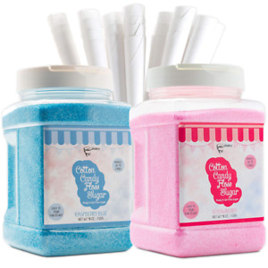 The Candery Cotton Candy Floss Sugar 2 pack Includes 100 Premium Cones Raspb