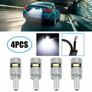 4pcs Universal White Motorcycle Screw Smd Led Bolt Lamp Car License Plate Light