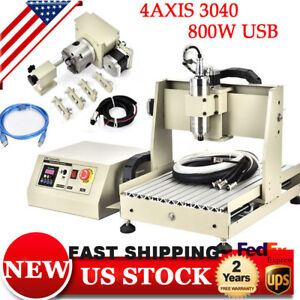 800w Vfd Usb Cnc Router 4 Axis 3040 Wood metal Engraver Mill Machine Engraving