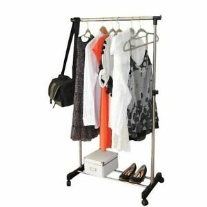 Durable Portable Adjustble Rolling Clothes Rack Single bar Hanger Garment Hanger
