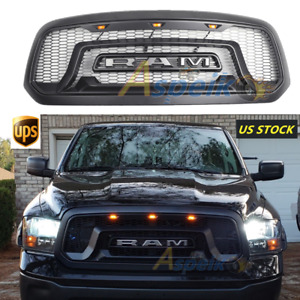 2013 2018 Dodge Ram 1500 Rebel Style Matte Black Grille Grill Mesh With 3 Led S5