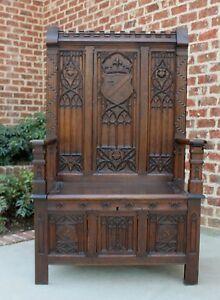 Antique French Gothic Oak Monk S Bench Hall Bench Settee Banquette Pew