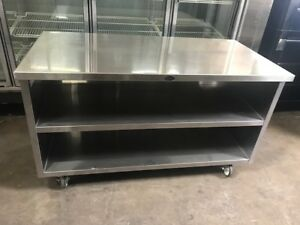 60 X 30 Stainless Steel Cabinet 5 Work Top Cart Table On Wheels Nsf 8734 Prep