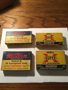 Early! Lot Of Western Super X Ammo Boxes! Sealed 270 .30 Spr .30 Wcf 35 Rem