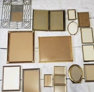 Vintage Lot 15 Mostly Gold Framesembossed Ornate Metal Picture Frames Decor
