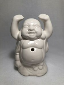 Smiling Buddha Statue Incense Burner White Porcelain 7 5