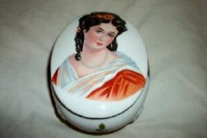 Vintage French Lady Portrait Porcelain Vanity Box Footed Chic Paris Apt Shabby