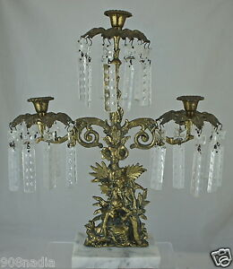 Victorian Bronze Candle Stick 3 Arms Marble Prism Mantle Luster France Or Italy