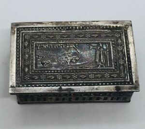 Antique Hebrew Signed Judaica Sterling Silver Unusual Moses Pill Box