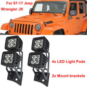 Fits Jeep Wrangler Jk Dual Windshield Mount Brackets 4x Led Cube Fog Light Pods