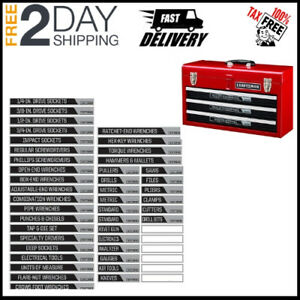 42 Pc Set Magnetic Tool Box Chest Labels Garage Mechanic Tools Storage Organizer