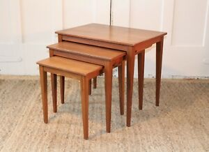 Vintage Danish Modern Teak Bunching Nesting Tables Mid Century Interlocking