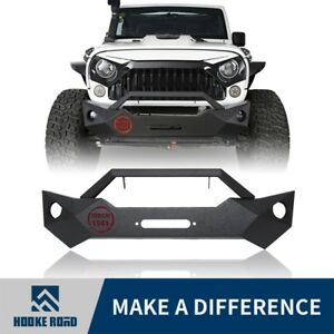 Hooke Road Aggressive Front Bumper W Winch Plate For Jeep Wrangler Jk 2007 2018