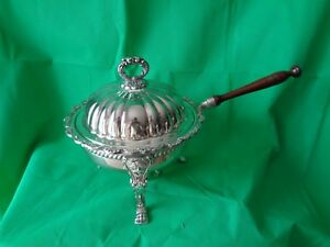 Vintage Poole Silverplate Old English Chafing Dish With Burner 5030