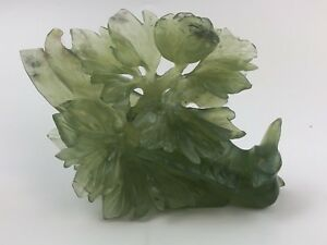 4 Chinese Green Jade Carving Bird W Flowers Sculpture