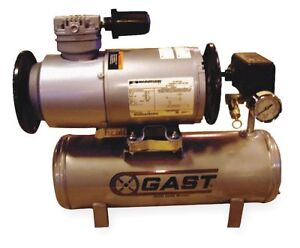 Gast 1 6 Hp 2 Gal Horizontal Oil less Tank Mounted Electric Air Compressor