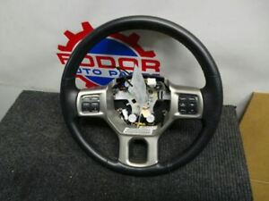 Dodge Ram Black Leather Steering Wheel Audio Controls 13 14 15 16 17 18 Oem Heat