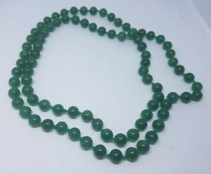 Vtg Chinese Green Jade Beads Necklace 34