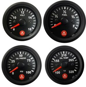 Gauges Oil Pressure Temperature Volt Fuel 2 Electric With Warning