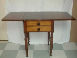 19thc Federal Period Antique Cherry Figured Maple Drop Leaf 2 Drawer Work Table
