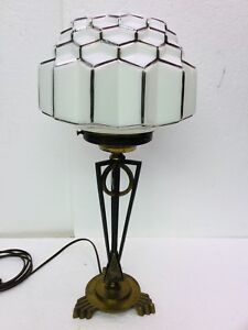 Art Deco Egyptian Revival Lamp Brass Iron Base W Decorated Skyscraper Shade