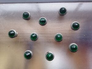 10 Vintage Jewel Cut Green Glass Power Indicator Lamps