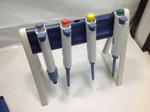 Set Of 4 Biohit Proline Single Channel Pipette 20 200 1000 5000 Ul 2 Stand
