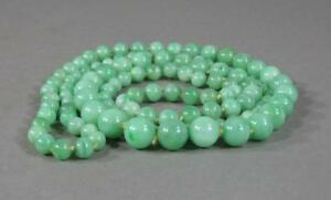 Nice Long Antique Chinese Jade Graduated Bead Necklace Apple Green 35 Inches