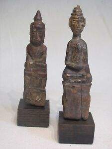 Pair Of Mounted Antique Thai Southeast Asian Seated Wood Buddha Figures