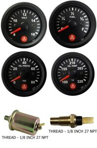 Gauges Oil Pressure Temperature Volt Fuel Temp Oil Sensor 2 Electric