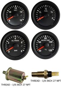 Gauges Oil Pressure Temperature Volt Fuel 2 Electric With Oil Temp Sensor