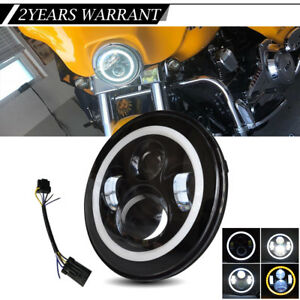 7 Motorcycle Projector Led Headlight Hi lo For Harley Davidson Electra Glide