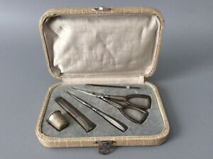 Antique French Sterling Silver Sewing Set Thimble Needle Case Scissors