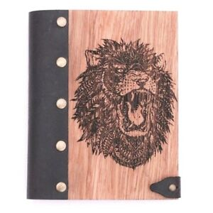 Lion Wooden Notebook Leather Journal Wooden Notepad Wooden Diary Blank